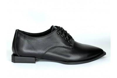 Женские черные кожаные туфли Арт. 1077-01