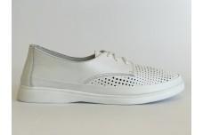 Женские белые кожаные кеды с перфорацией Арт. 1188-05