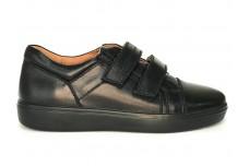 Черные кожаные кеды на липучках для подростка Арт. 1230-001