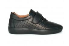 Черные кожаные кеды с перфорацией для подростка Арт. 1230-01