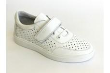 Белые кожаные кеды с перфорацией для подростка Арт. 1230-05