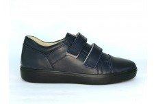 Синие кожаные кеды на липучках для подростка Арт. 1230-002
