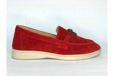 Женские красные замшевые лоферы Арт. 1232-03з