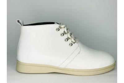 Женские белые кожаные ботинки Арт. 1233-05