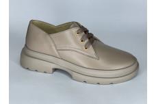 Женские темно бежевые кожаные туфли Арт. 1250-100-1
