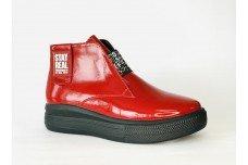 Женские красные ботинки из натурального лака Арт. 1269-03л