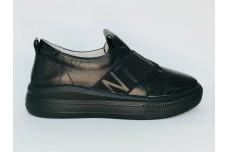 Женские черные кожаные кеды Арт. 1272-01