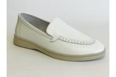 Женские белые кожаные лоферы Арт. 1394-05