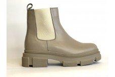 Женские темно бежевые кожаные ботинки Арт. 2025-100