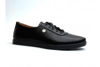 Женские черные кожаные кеды на шнурках Арт. 2027-1-01