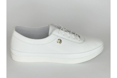 Женские белые кожаные кеды на шнурках Арт. 2027-1-05