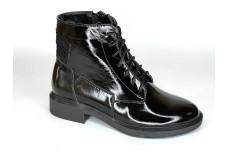 Женские черные ботинки из натурального лака Арт. 2121-01л