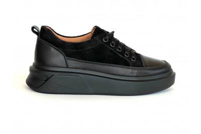 Женские черные кожаные кеды Арт. 2123-01
