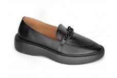 Женские черные кожаные лоферы Арт. 2136-01