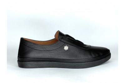 Женские черные кожаные кеды Арт. 2720-01
