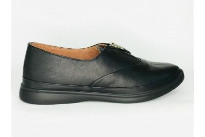 Женские черные кожаные туфли на змейке Арт. 347-01-1
