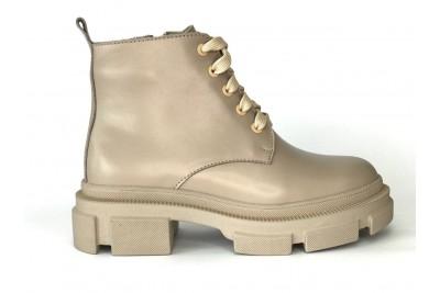 Женские бежевые кожаные ботинки Арт. 355-100