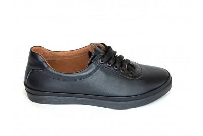 Женские черные кожаные кеды Арт. 540-01