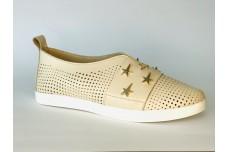 Женские бежевые кожаные туфли с перфорацией Арт. 1073-04