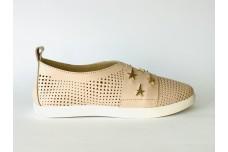 Женские кожаные туфли пудра с перфорацией Арт. 1073-06