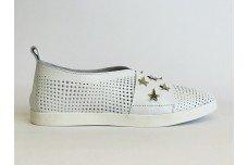 Женские белые кожаные туфли с перфорацией Арт. 1073-05