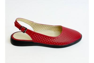Летние женские кожаные красные босоножки с перфорацией Арт. 1082-03