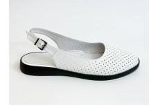 Летние женские кожаные белые босоножки с перфорацией Арт. 1082-05