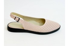 Летние женские кожаные босоножки пудра с перфорацией Арт. 1082-06
