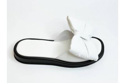 Летние женские кожаные белые шлепки с бантом Арт. 1085-05