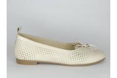 Женские бежевые кожаные балетки с перфорацией Арт. 1385-04