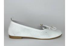 Женские белые кожаные балетки с перфорацией Арт. 1385-05