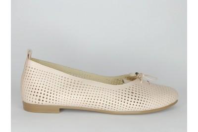 Женские кожаные балетки пудра с перфорацией Арт. 1385-06