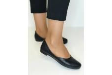 Женские черные кожаные балетки с перфорацией Арт. 1454-01