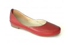 Женские красные кожаные балетки с перфорацией Арт. 1454-03