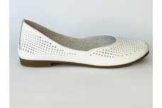 Женские белые кожаные балетки с перфорацией Арт. 1454-05