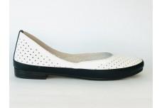 Женские белые кожаные балетки с перфорацией Арт. 1454-25