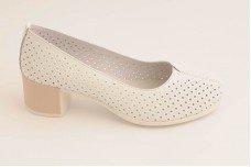 Женские белые туфли на каблуке Арт. 1835-05