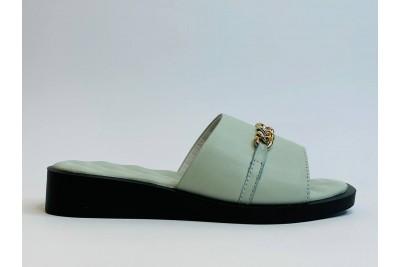 Летние женские кожаные шлепки с цепью Арт. 2106-15
