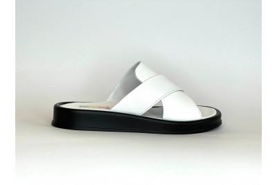 Женские белые кожаные шлепки Арт. 2151-05
