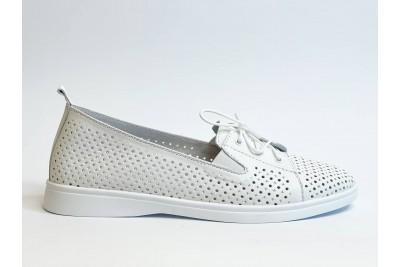 Летние женские кожаные белые туфли с перфорацией Арт. 2626-05