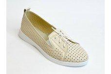 Летние женские кожаные бежевые туфли с перфорацией Арт. 2626-04