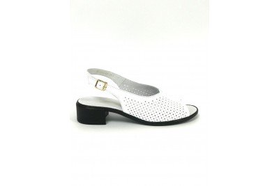 Женские белые босоножки на каблуке Арт. 312-05