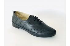 Женские синие кожаные туфли  с перфорацией Арт. 345-02