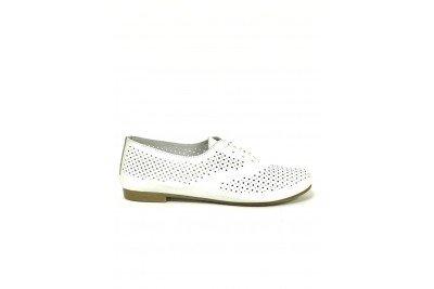 Женские белые кожаные туфли с перфорацией Арт. 345-05