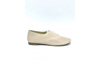 Женские кожаные туфли пудра с перфорацией Арт. 345-06