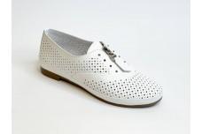 Женские белые кожаные туфли на змейке Арт. 348-05