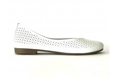 Женские белые кожаные балетки с перфорацией Арт. 405-05