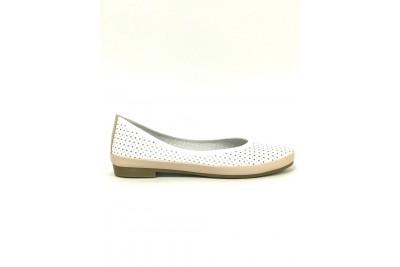 Женские белые кожаные балетки с перфорацией Арт. 405-89