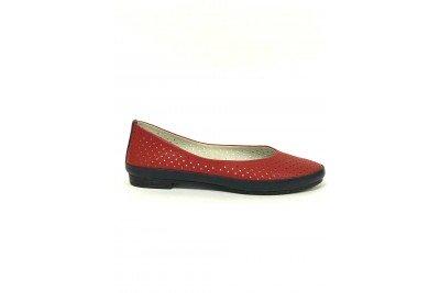 Женские красные кожаные балетки с перфорацией Арт. 415-30