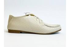 Женские кожаные бежевые туфли с перфорацией Арт. 440-04